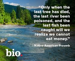 """ONLY WHEN THE LAST TREE HAS DIED, THE LAST RIVER BEEN POISONED, AND THE LAST  FISH BEEN CAUGHT WILL WE REALIZE WE CANNOT EAT MONEY"""" — Steemit"""